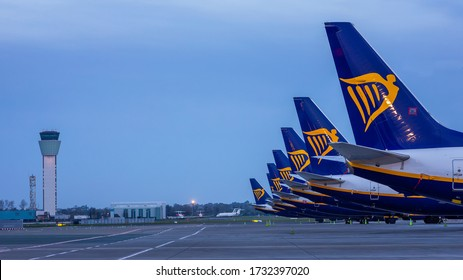 Dublin, Ireland 15.05.2020, Ryanair Dublin Airport Canceled flights in Europe  Travel vacations cancelled because of pandemic of corona virus. COVID 19 Boeing 737-800 Visual Control Tower