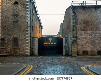 Dublin, Ireland - 17 Jan 2017: Gate to the Guinness  Brewery in the St James Gate Area, Dublin