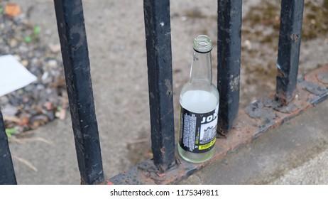 Dublin, Ireland; 17/08/2018; Empty Liqour bottle on the street, Dublin, Ireland.