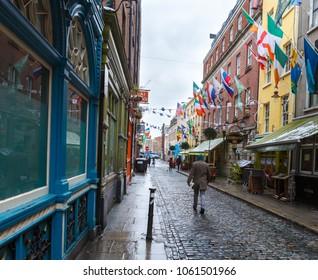 Dublin, Ireland. 18 March 2018. Streets of Dublin in Saint Patrick day
