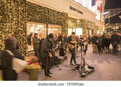 Dublin, Ireland - 18 November 2017:  The artists performing on Grafton street, Dublin, entertaining spectators