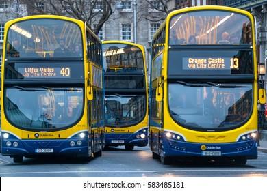 Dublin, Ireland - 19 Feb 2017: Dublin Bus is the biggest public transport provider in the Greater Dublin Area