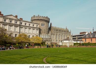 DUBLIN, IRELAND: 20 April 2019 - Dublin Castle and Dubh Linn Garden