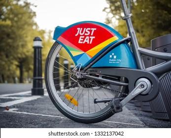 Dublin, Ireland - 2019 7 March : Dublin bike with Just Eat sign