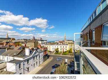 Dublin, Ireland - 22 April 2018: View at Dun Laoghaire, suburban coastal town in County Dublin, Ireland
