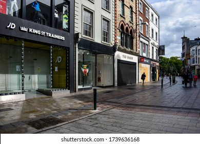 DUBLIN, IRELAND - 23 May 2020: Boarded up and vacant shops on Grafton street in Dublin city centre