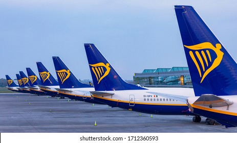Dublin, Ireland 23.04.2020, Ryanair Dublin Airport Canceled flights in Europe and USA airports. Travel vacations cancelled because of pandemic of corona virus. COVID 19 Boeing 737-800