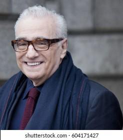 DUBLIN, IRELAND - 24 FEBRUARY 2017: Director Martin Scorsese smiles for the media outside Trinity College, Dublin.