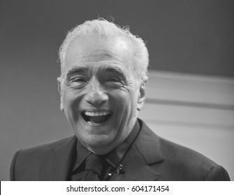 DUBLIN, IRELAND - 24 FEBRUARY 2017: Legendary film director Martin Scorsese has a laugh with the media at Trinity College, Dublin.