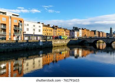 Dublin, Ireland - 24 Nov 2017: Mellows Bridge over River Liffey, in Dublin
