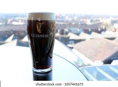 DUBLIN, IRELAND: 25 March 2018 - Pint of Guinness Overlooking the Dublin Skyline