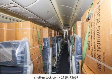 Dublin, Ireland 25.4.2020 El Al Israel Airlines Boeing 787-9 Dreamliner 4X-EDD Coronavirus latest as Dublin Airport EL AL flight  bringing PPE from China arrives in Dublin