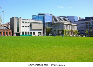 DUBLIN, IRELAND -26 MAY 2019- View of the campus of Trinity College, founded in 1592, located in the center of the Irish capital around College Green. It is the best university in Ireland.