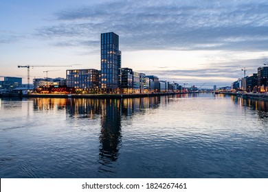 Dublin, Ireland - 27 September 2020: Grand Canal Dock,a Southside area near the city centre of Dublin, Ireland.