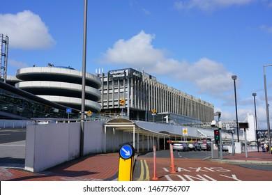 DUBLIN, IRELAND -28 JUL 2019- View of the Dublin airport (DUB), Aerfort Bhaile Átha Cliath,  near Dublin, Republic of Ireland. It is the headquarters for Aer Lingus (EI) and Ryanair (FR).