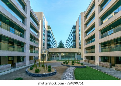 Dublin, Ireland - 28 Sep 2017: Beacon South Quarter offices centre holding Food outlets, Medical Centres, Banking, and Residential.