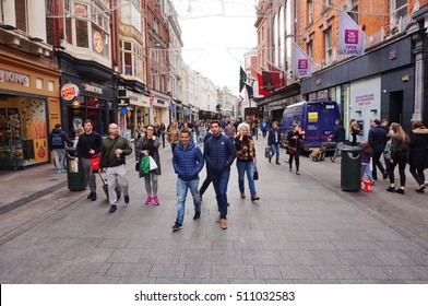 DUBLIN, IRELAND -29 OCT 2016- Grafton Street is a pedestrian thoroughfare and the main shopping street in central Dublin. It runs from College Green to Saint Stephens Green.