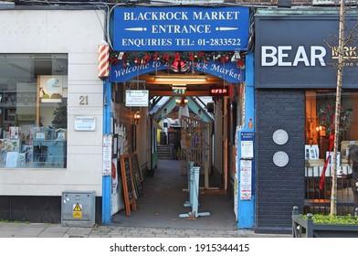 Dublin, Ireland, 2nd January 2021. Entrance to the famous Blackrock Market on the Main Street.