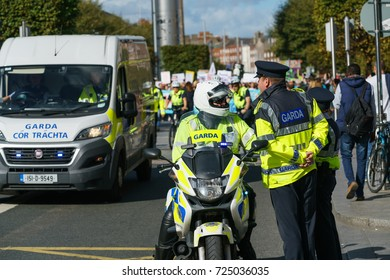 Dublin, Ireland - 30 September 2017: Garda - Irish police officers on the motorcycle, patrolling Dublin streets and events