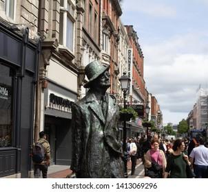 Dublin, Ireland, 31st May 2019. Marjorie Fitzgibbon's statue of James Joyce in North Earl Street.