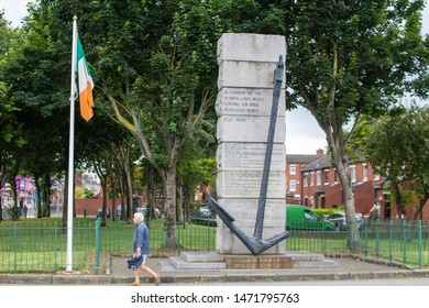 Dublin, Ireland, 3rd August 2019. The monument in City Quay,to honour those Irish  merchant seamen  who died during the second world war. It was unveiled in 1990.