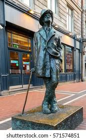 Dublin, Ireland - 4 Feb 2017: James Joyce statue located in city center on North Earl Street