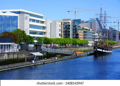 DUBLIN, IRELAND -4 MAY 2019- View of the Citibank corporate commercial headquarters, a landmark modern building located on the banks of the River Liffey in Dublin.