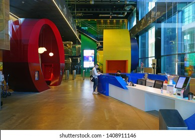 DUBLIN, IRELAND -4 MAY 2019- View of the European headquarters of American tech giant Google, located in four modern buildings in the Dockland district of the Irish Capital.