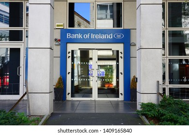 DUBLIN, IRELAND -4 MAY 2019- View of a branch of the Bank of Ireland, one of the Big Four Irish commercial banks.