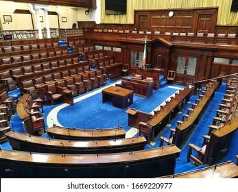 Dublin, Ireland - 4th January 2019: Dáil Éireann, Irish Parliament Chambers