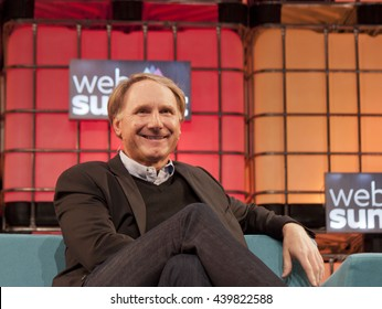 DUBLIN, IRELAND - 5 NOVEMBER 2015: Dan Brown, author of The Da Vinci Code and Angels & Demons, speaking at the Web Summit at the Royal Dublin Society.
