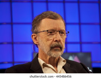 DUBLIN, IRELAND - 5 NOVEMBER 2015: Founder of Disney Pixar, Ed Catmull, speaks at the Web Summit in the Royal Dublin Society with the Financial Times editor, Caroline Daniel.
