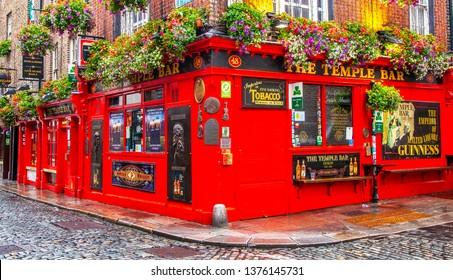 DUBLIN, IRELAND – 6 June 2018: Temple Bar in Dublin