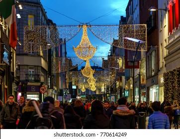 Dublin, Ireland - 7 December : Grafton street in Dublin, Christmas lights.