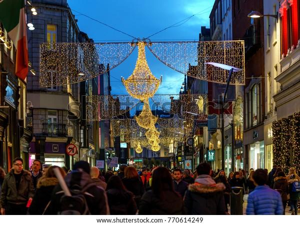 Christmas In Dublin Ireland.Dublin Ireland 7 December Grafton Street Stock Photo Edit