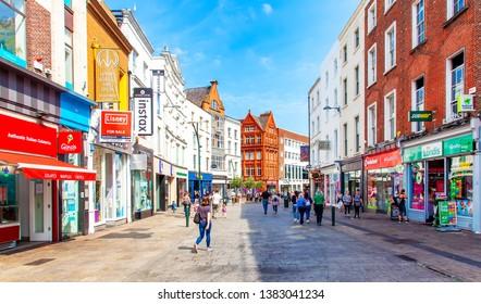 DUBLIN, IRELAND – 7 June 2018: Grafton street in Dublin