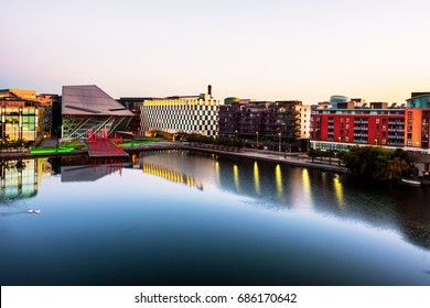 Dublin, Ireland. Aerial view of Grand Canal docks in Dublin, Ireland at sunrise. Empty streets and modern buildings, colorful clear sky