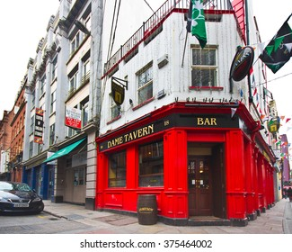 DUBLIN, IRELAND - APRIL 1, 2013:  Dame Tavern Irish pub in the Temple Bar District of Dublin Ireland
