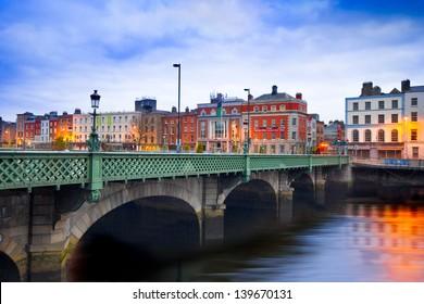 DUBLIN, IRELAND - APRIL 1:  Grattan Bridge in Dublin, Ireland on the evening of April 1, 2013. This historic bridge spans the River Liffey in Dublin, Ireland.