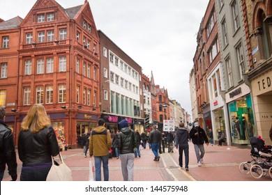 DUBLIN, IRELAND - APRIL 1: View of Grafton Street in Dublin Ireland on April 1, 2013.  Pedestrian friendly Grafton St. is a landmark shopping district in Dublin.