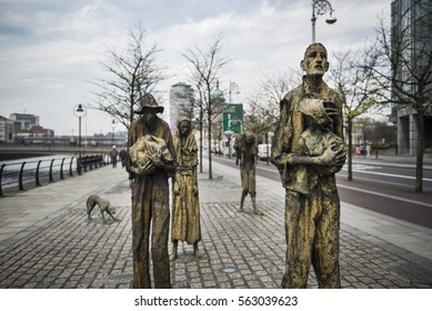 Dublin, Ireland - April 10, 2015. The Great Famine or Great Hunger monument. The Great Famine was a period of mass starvation, disease, and emigration in Ireland between 1845 and 1852.