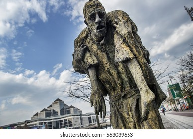Dublin, Ireland - April 10, 2015. A sculpture of the Great Famine or Great Hunger monument. The Great Famine was a period of mass starvation, disease, and emigration in Ireland between 1845 and 1852.