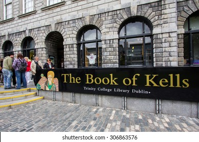 DUBLIN, IRELAND - APRIL 18, 2011: The Book of Kells Exhibition is a must-see on the itinerary of all visitors to Dublin. - Trinity College Library, Dublin, Ireland.