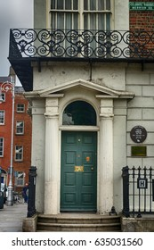 DUBLIN, IRELAND - APRIL 18: House of Oscar Wilde at Merrion Square 18 April, 2017 at Dublin, Ireland. Oscar Wilde was an Irish novelist and poet.