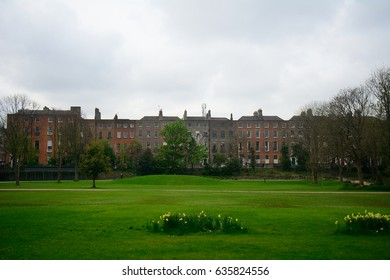 DUBLIN, IRELAND - APRIL 18: Merrion Square 18 April, 2017 at Dublin, Ireland. Merrion Square is one of the most famous squares in Dublin.