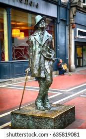 DUBLIN, IRELAND - APRIL 18: Statue of James Joyce 18 April, 2017 at Dublin, Ireland. James Joyce was an Irish novelist and poet.
