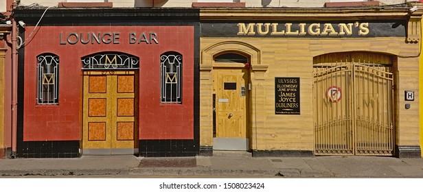 DUBLIN, IRELAND, APRIL 2, 2019, Typical colorful Irish pub and bar facades in Dublin, Ireland, 2 April 2019