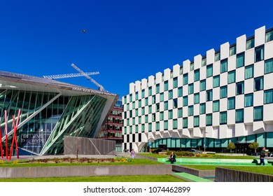 DUBLIN, IRELAND - April 21st, 2018: the luxury Marker Hotel in the renovated Docklands area of Dublin city centre shot on a sunny day