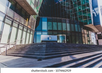 DUBLIN, IRELAND - April 21st, 2018: Facebook corporate office buildings in the renovated Docklands area of Dublin ciy centre