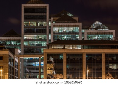 DUBLIN, IRELAND - APRIL 22, 2016: Close up night view of modern exterior office building in the city center of Dublin April 22, 2016.